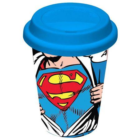 Copo Ceramica DC com Tampa de Silicone Superman Opening
