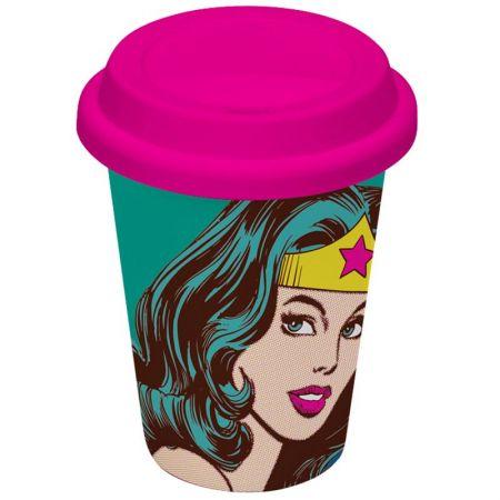 Copo com Tampa Mulher Maravilha (Wonder Woman): DC Comics