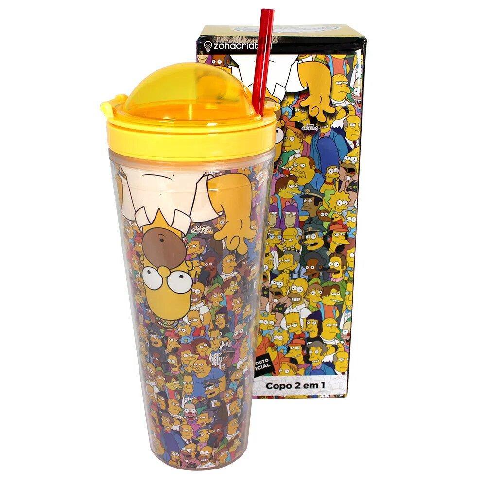 """Copo com Canudo 2 Em 1 """"Homer Simpson"""": Os Simpsons"""