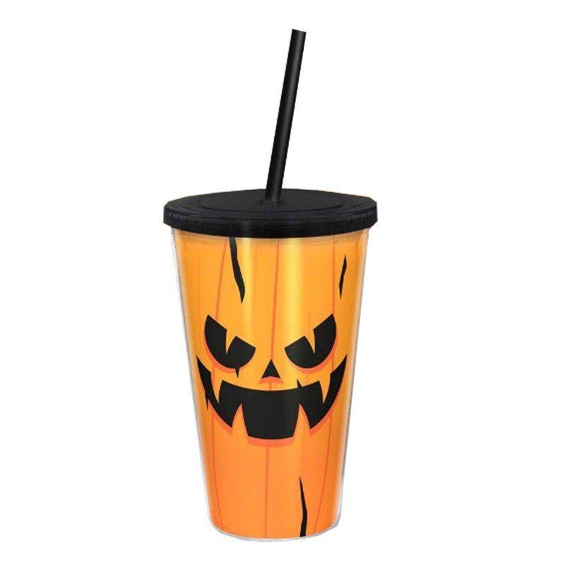 Copo com Canudo: Abóbora (Halloween)