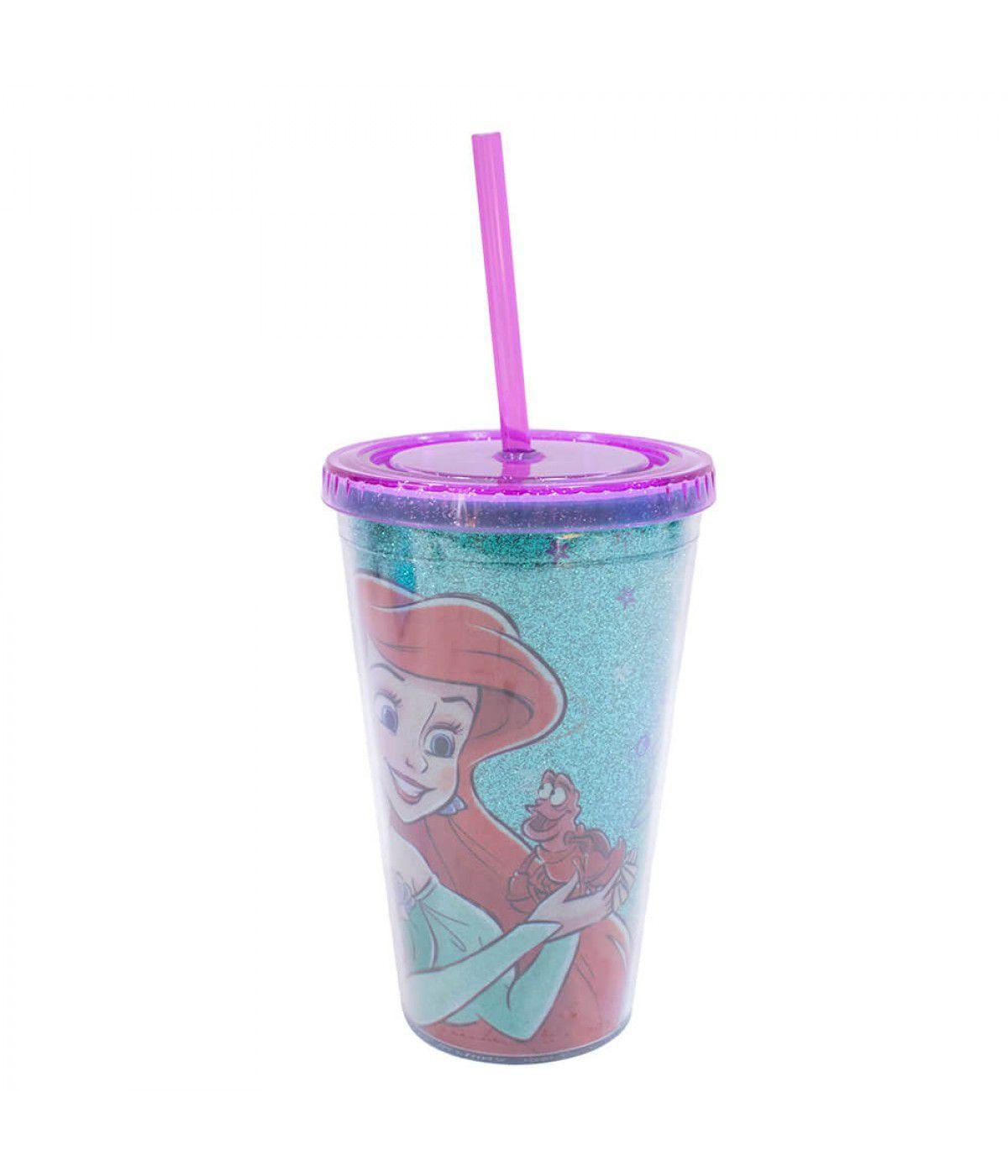 Copo com Canudo Ariel (Azul): A Pequena Sereia - (450ML)
