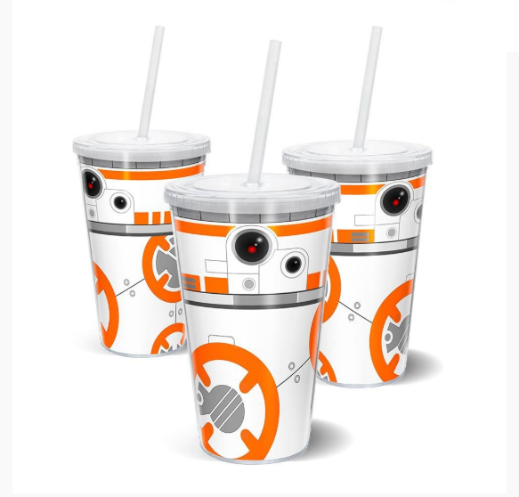 Copo com Canudo BB-8: Star Wars (500ml)