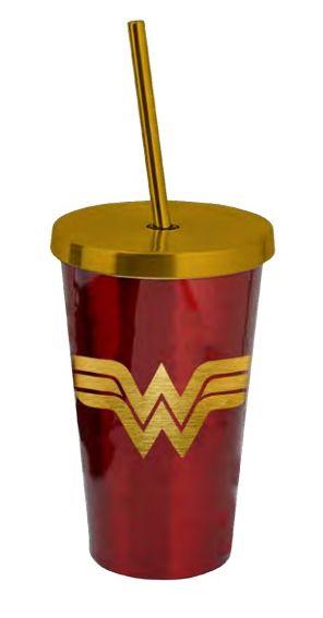 Copo com Canudo Cromado Logo Mulher-Maravilha (Wonder Woman) - 500ML