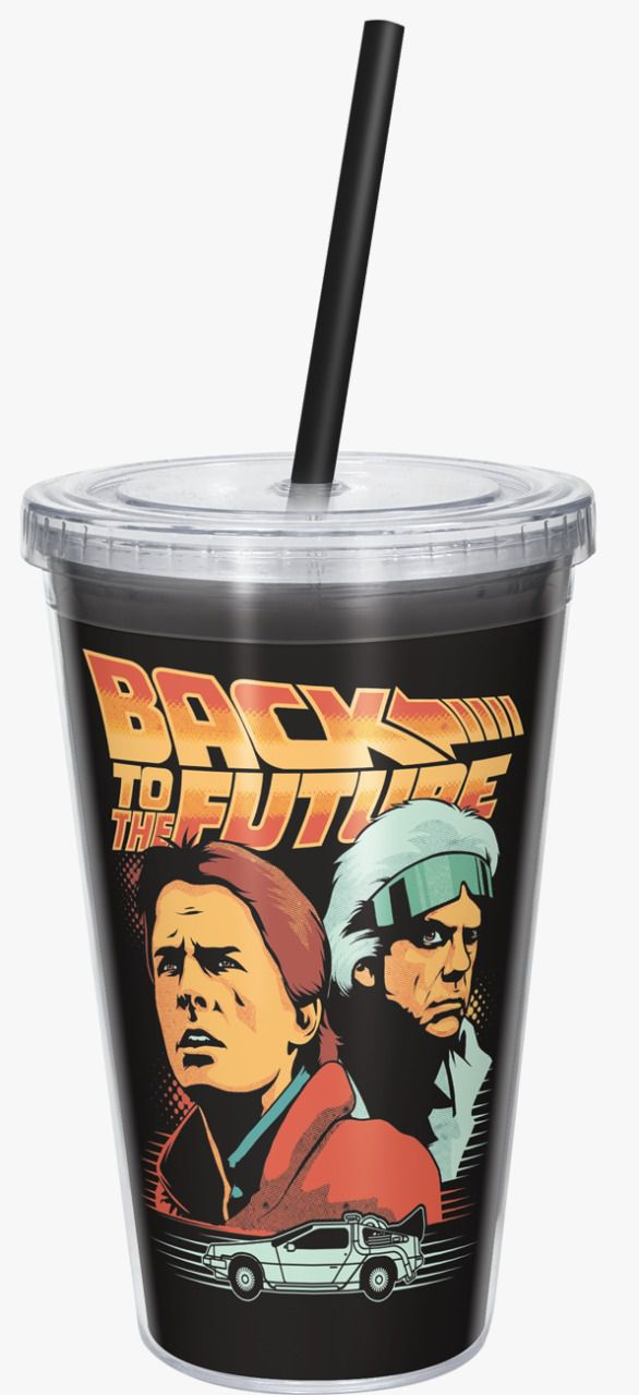 Copo com Canudo De Volta Para o Futuro (Back To The Future) - 600ML