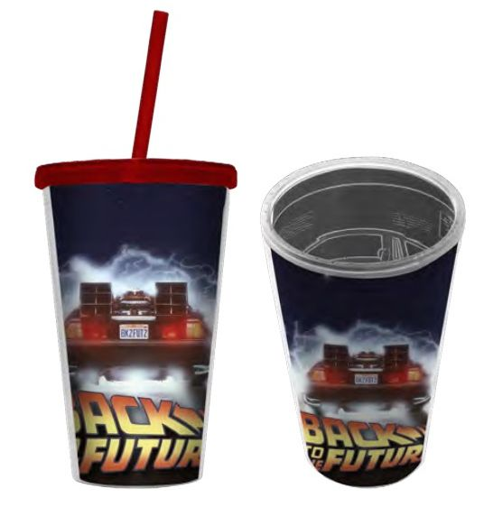 Copo com Canudo DeLorean: De Volta Para o Futuro (Back to the Future) - 500ML