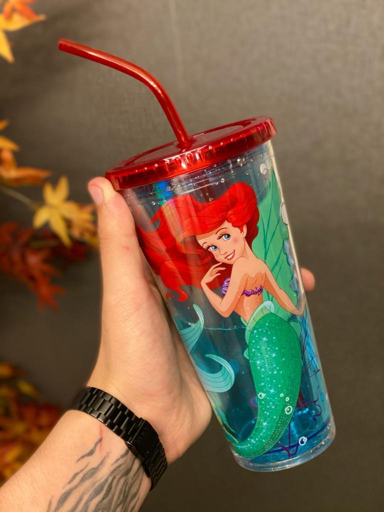 Copo com Canudo e Cubos de Gelo Ariel : A Pequena Sereia (The Little Mermaid) - (600ml)