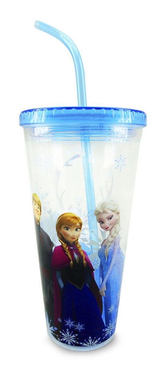 Copo com Canudo e Cubos de Gelo Frozen - Disney - (600ml)