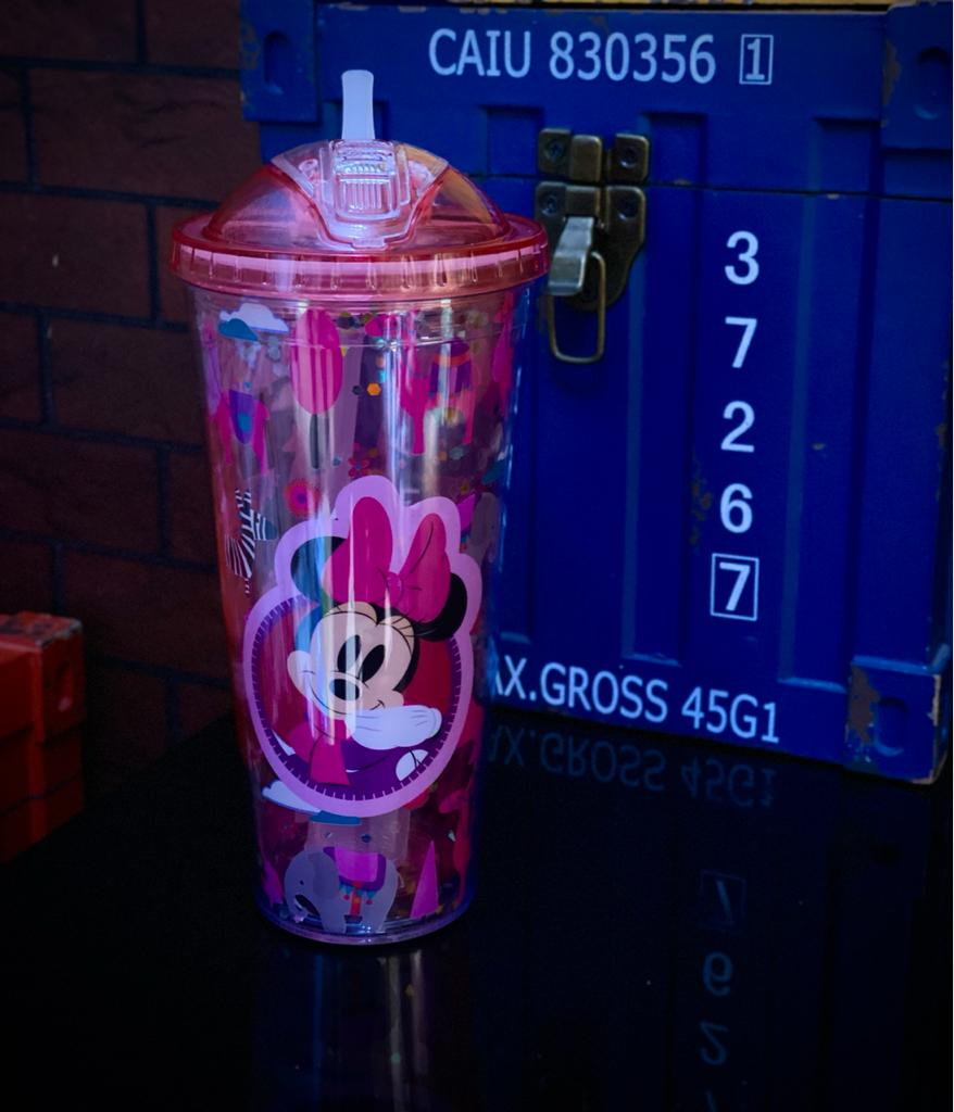 Copo com Canudo e Cubos de Gelo Minnie Mouse - Disney