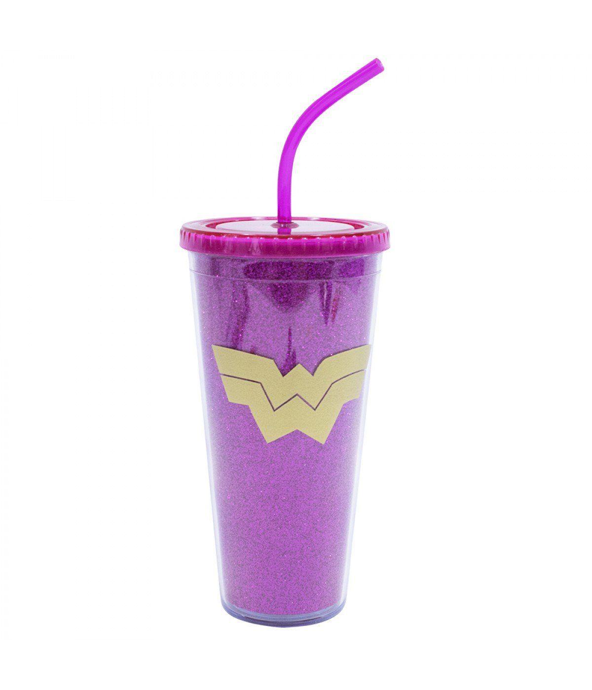 Copo com Canudo e Cubos de Gelo Mulher Maravilha (Wonder Woman): Liga da Justiça (Rosa)