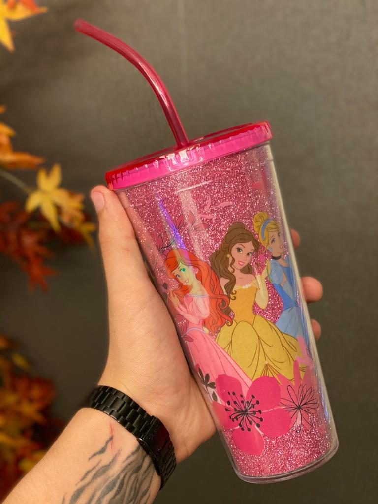 Copo com Canudo e Cubos de Gelo Princesas Flores - Disney