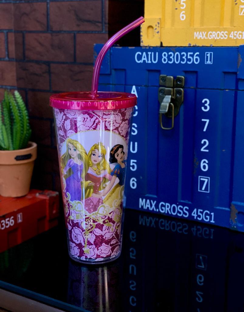Copo com Canudo e Cubos de Gelo Princesas Rosas - Disney