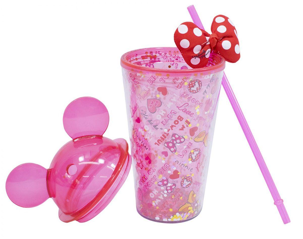 Copo com Canudo e Laço Orelhas Minnie Mouse (Rosa) - Disney
