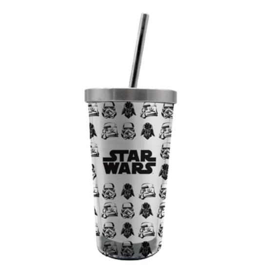 Copo com Canudo (Ecológico) Darth Vader e Stormtroopers: Star Wars - 450ML