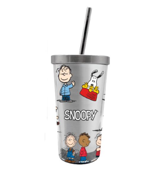 Copo com Canudo (Ecológico) Snoopy: Peanuts - 450ML