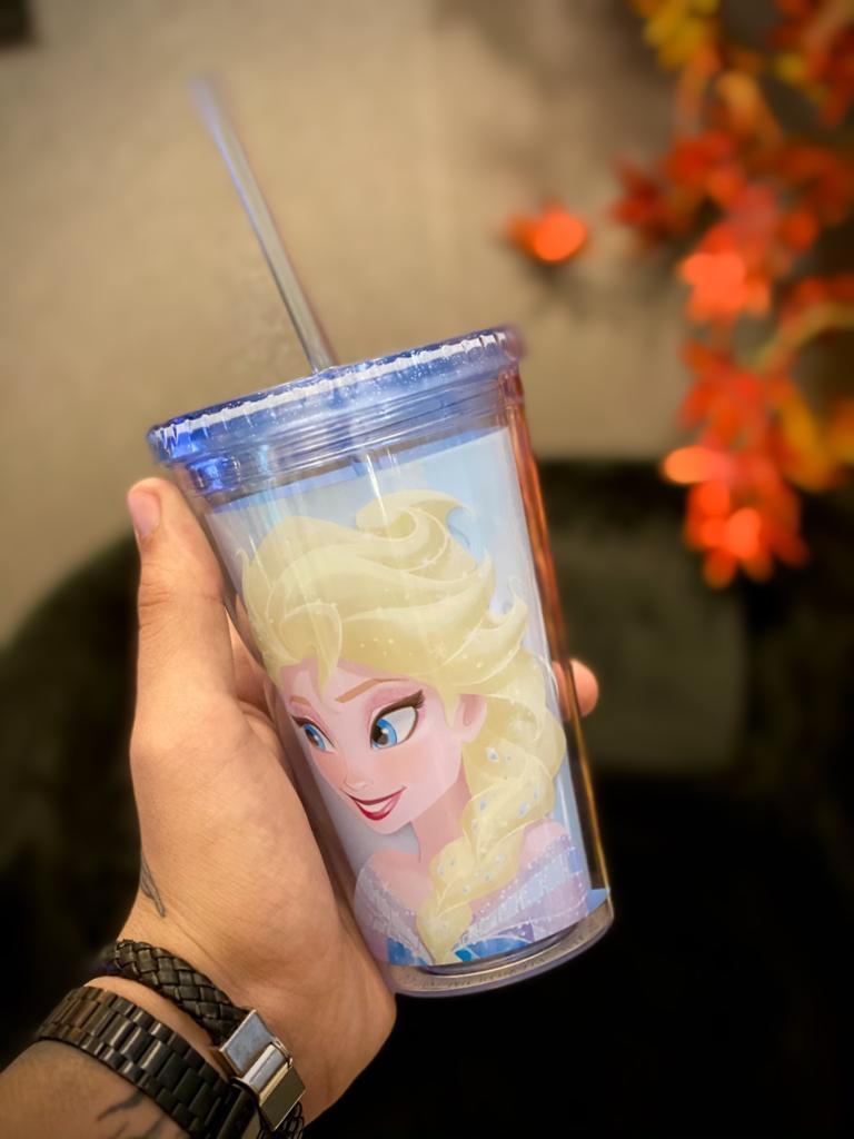 Copo Com Canudo: Elsa - Frozen