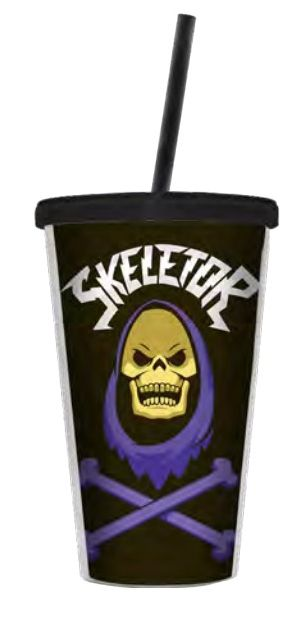 Copo com Canudo Esqueleto (Skeletor): Mestres do Universo (Masters of the Universe) - 500ML