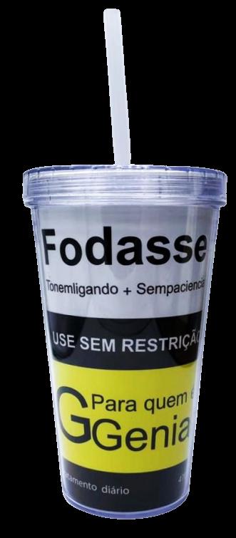 """Copo com Canudo """"Fodasse"""" - (200ML)"""