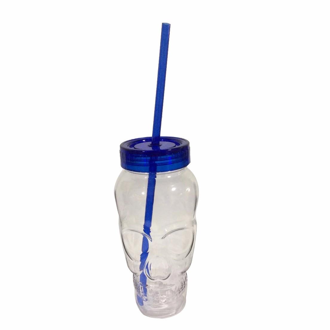 Copo com Canudo Formato de Caveira - Azul