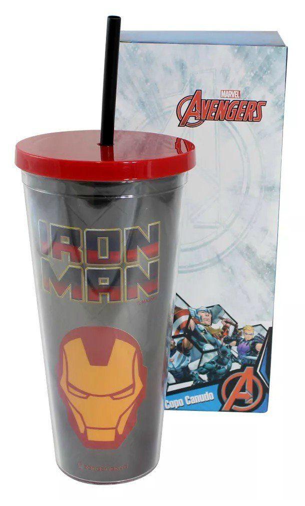 Copo Com Canudo Metálico: Iron Man (650ML)