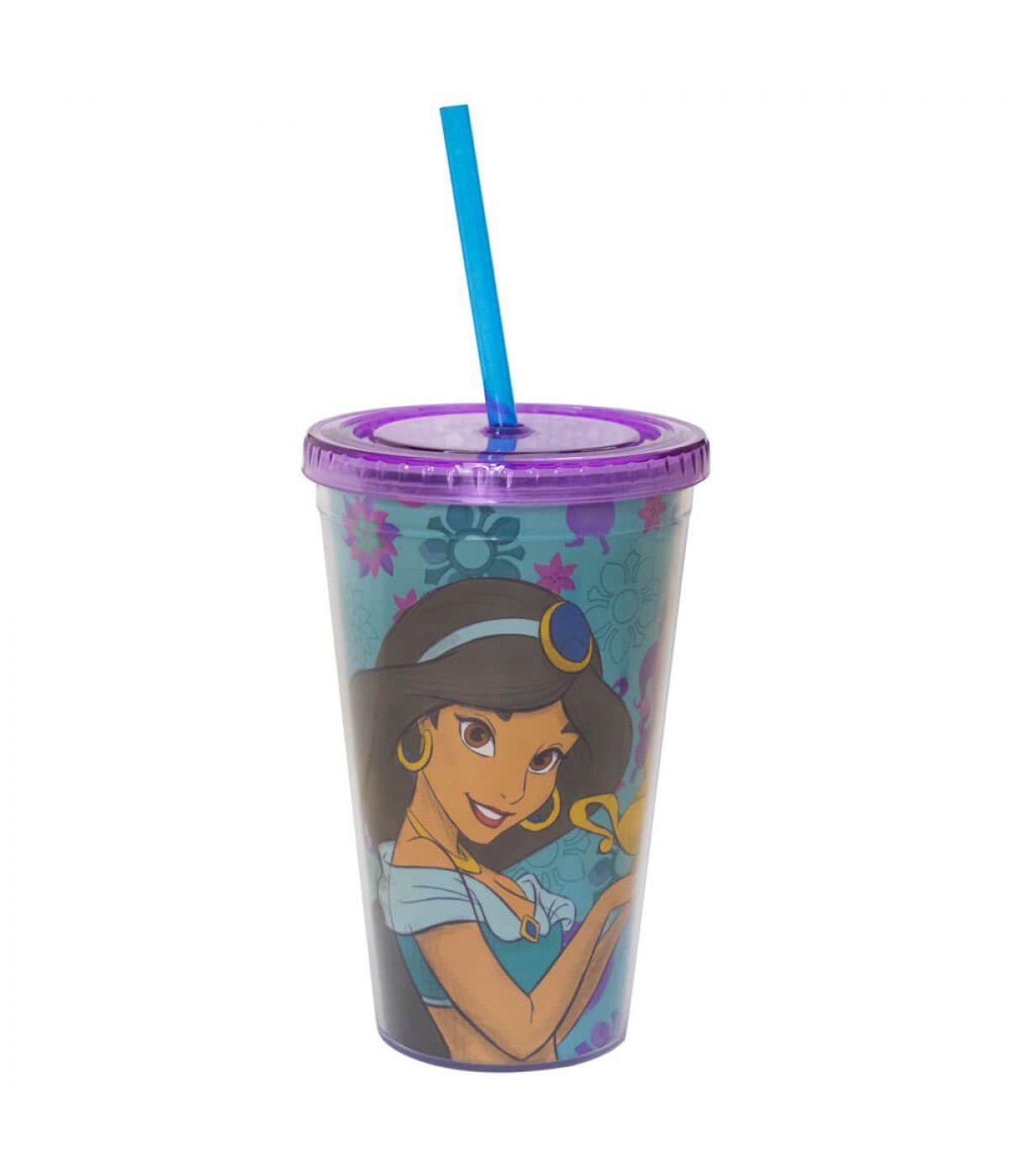 Copo com Canudo Jasmine: Aladdin - (450ML)
