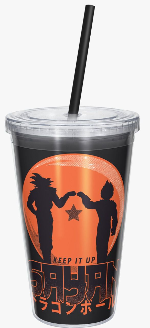 Copo com Canudo Keep It Up Sayan: Dragon Ball Z (Preto) - 600ML