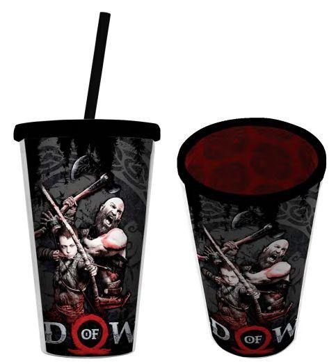 Copo com Canudo Kratos & Atreus: God of War - 500ML