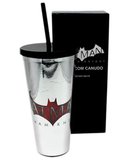 Copo com Canudo Logo Batman: Arkham Knight (Metalizado) - 650ML