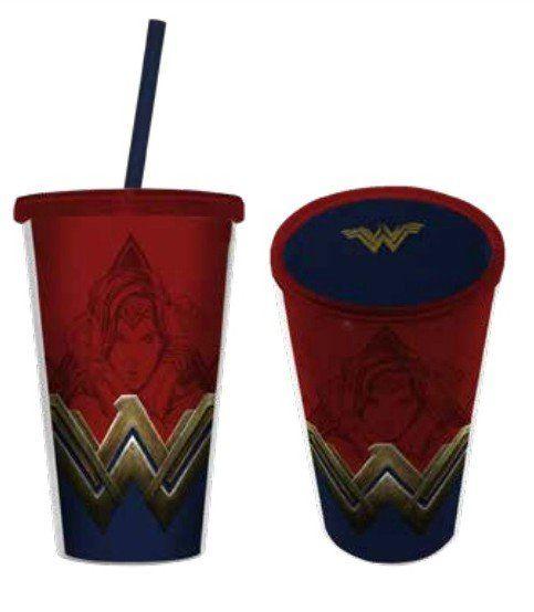 Copo com Canudo Logo Mulher-Maravilha (Wonder Woman) - 500ML