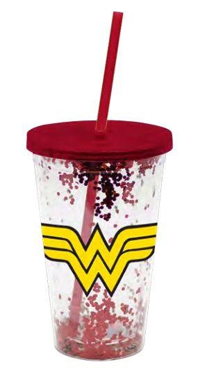 Copo com Canudo Logo Mulher-Maravilha (Wonder Woman) (Glitter) (500ml) - Urban