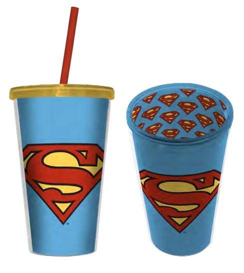 Copo com Canudo Logo Super-Homem (Superman): DC Comics - 500ML