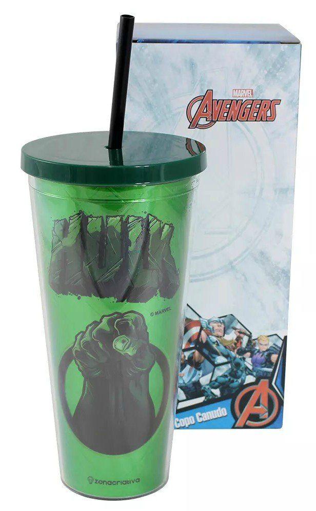 Copo Com Canudo Metálico: Hulk - (650ML)