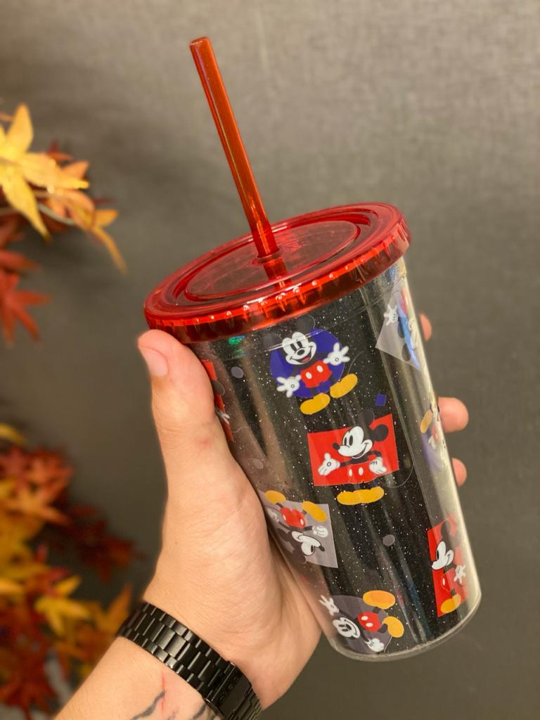 Copo com Canudo Mickey Mouse (Preto): Disney - (450ML)