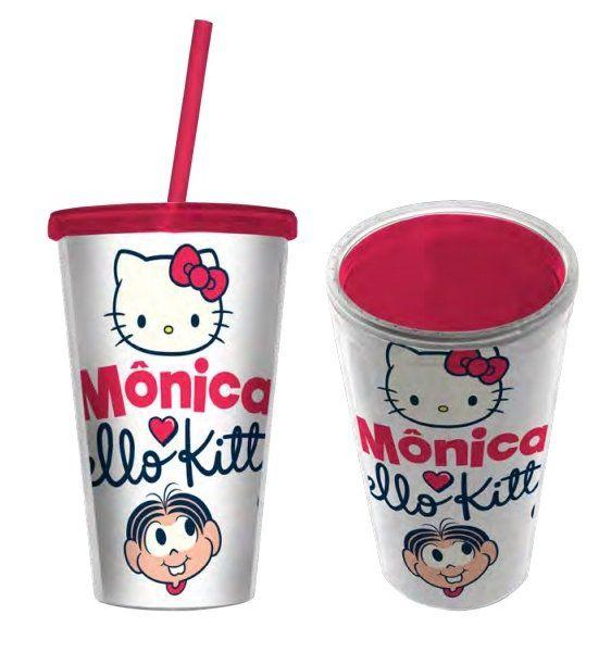 Copo com Canudo Mônica & Hello Kitty - 500ML