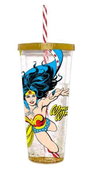 Copo com Canudo Mulher-Maravilha (Wonder Woman)  (600ml) - Urban