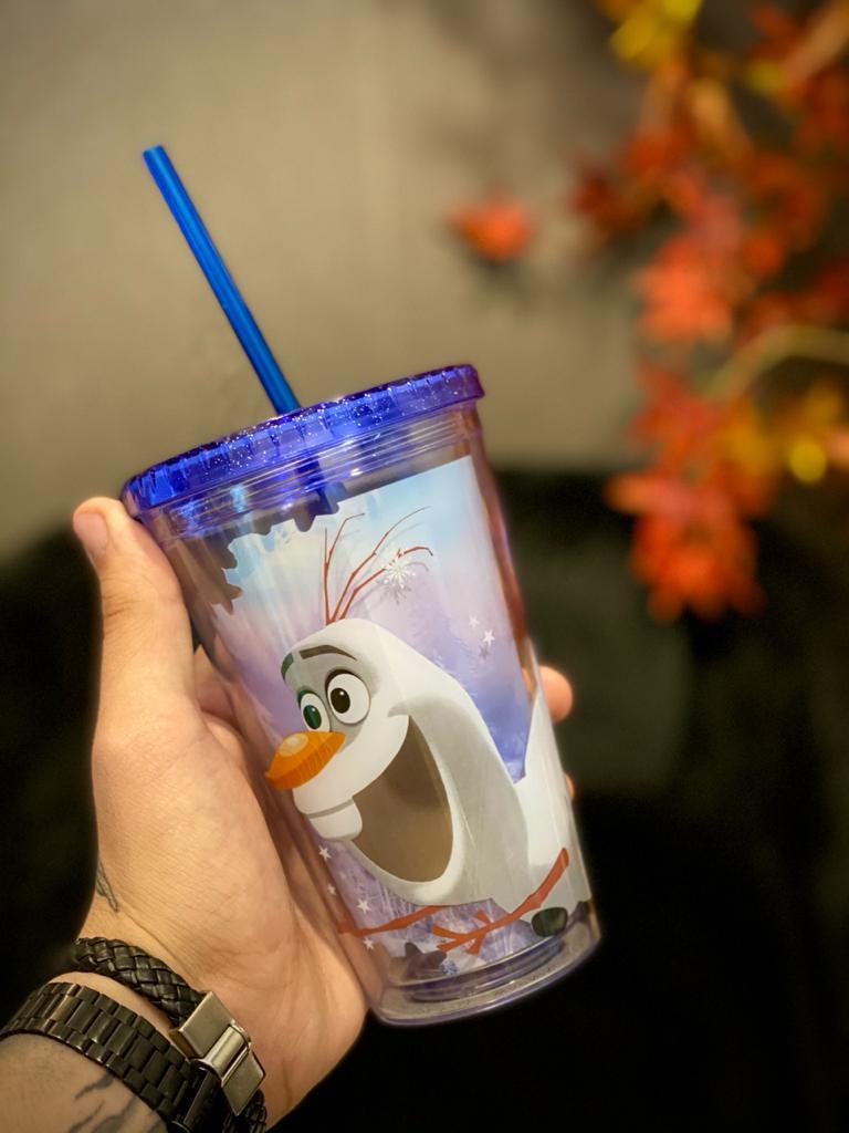 Copo Com Canudo: Olaf - Frozen