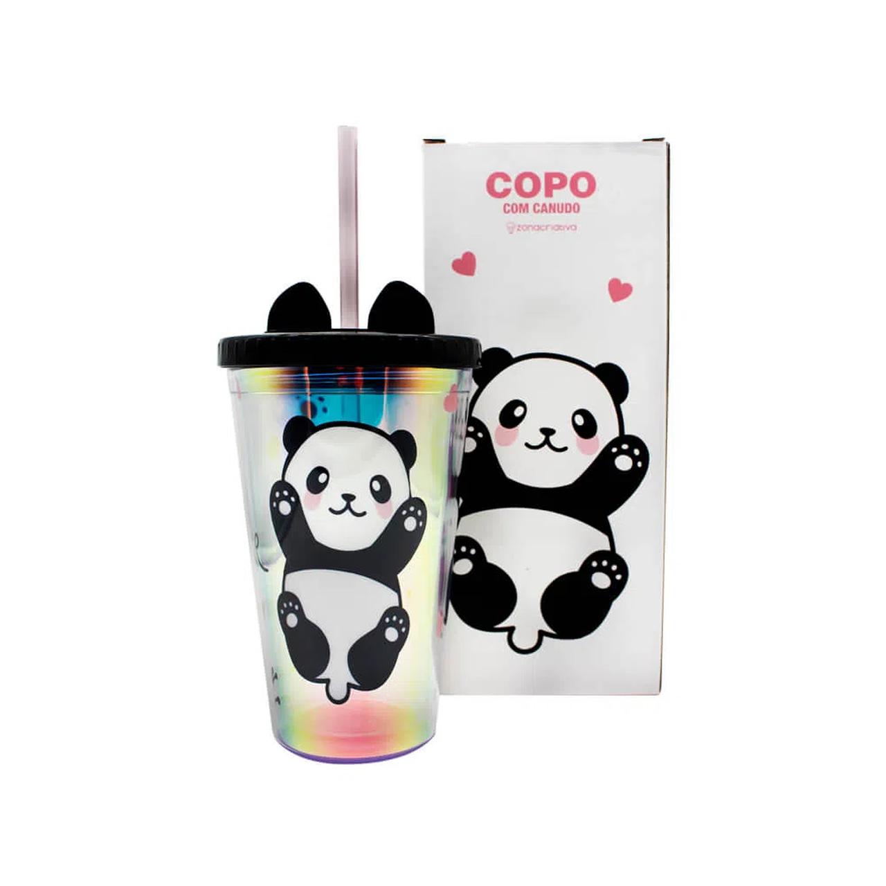 Copo com Canudo Orelhas de Panda (500ml) - Zona Criativa
