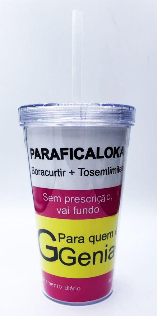 """Copo com Canudo """"Paraficaloka"""" - (470ML)"""