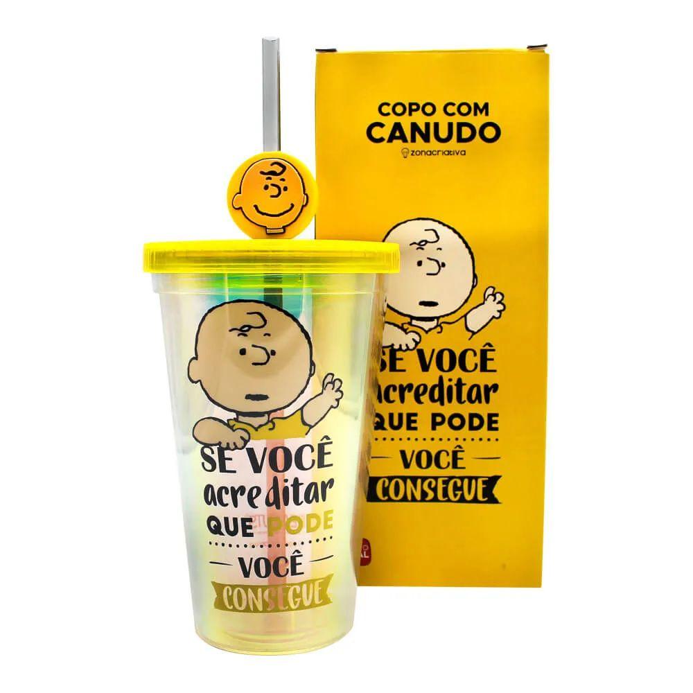 Copo com Canudo Pingente Charlie Brown: Peanuts - (500ML)