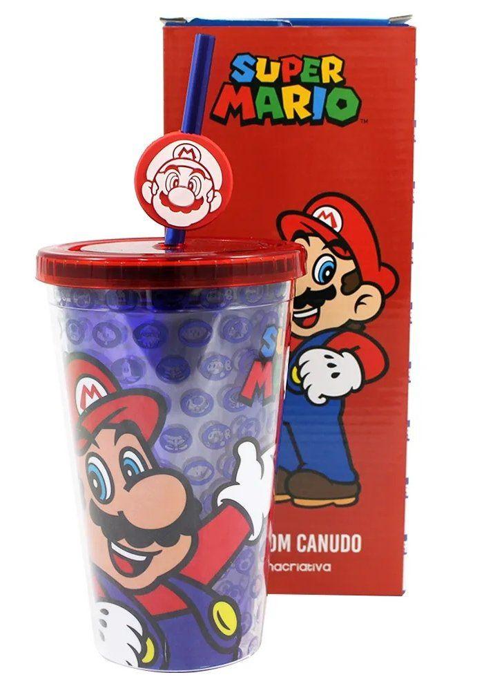 Copo com Canudo Pingente Mario: Super Mario Bros - (500ML)