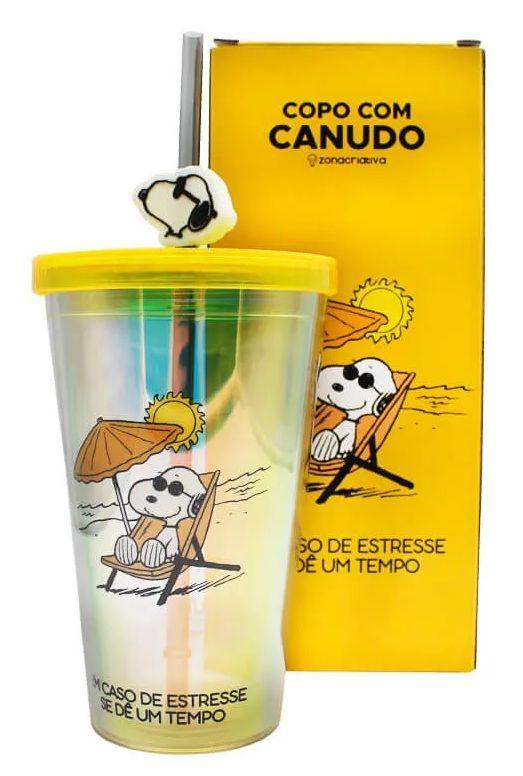 Copo com Canudo Pingente Snoopy: Peanuts - (500ML)