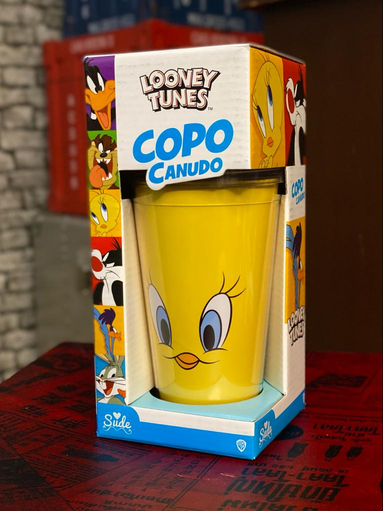 Copo Com Canudo Piu-Piu Feliz Looney Tunes - EV