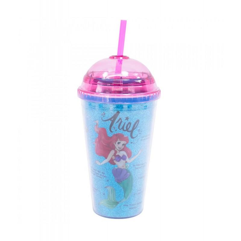 Copo com Canudo Princesa Ariel (Azul): A Pequena Sereia - (500ML)