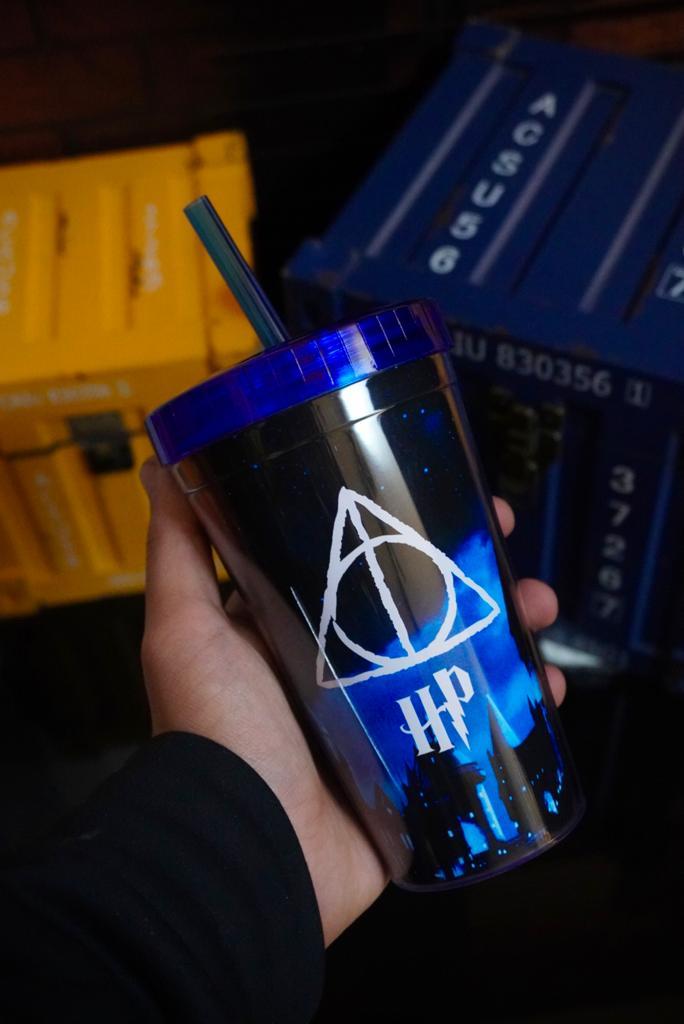 Copo Com Canudo Relíquias da Morte: Harry Potter - 450ml