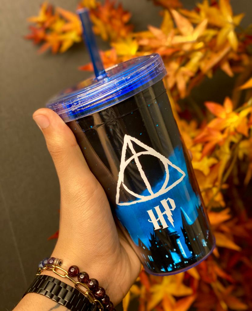 Copo Com Canudo Relíquias da Morte: Harry Potter - 450ml