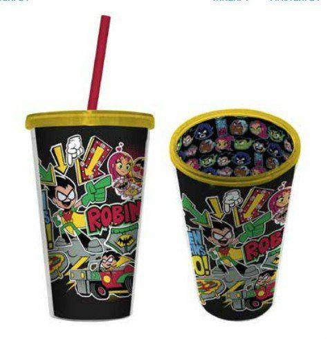 Copo com Canudo Robin: Teen Titans Go! - 500ML