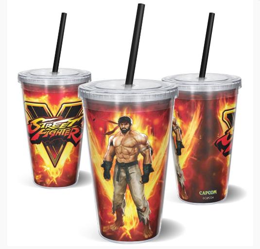 Copo com Canudo Ryu em Chamas (On Fire): Street Fighter V (600ml)