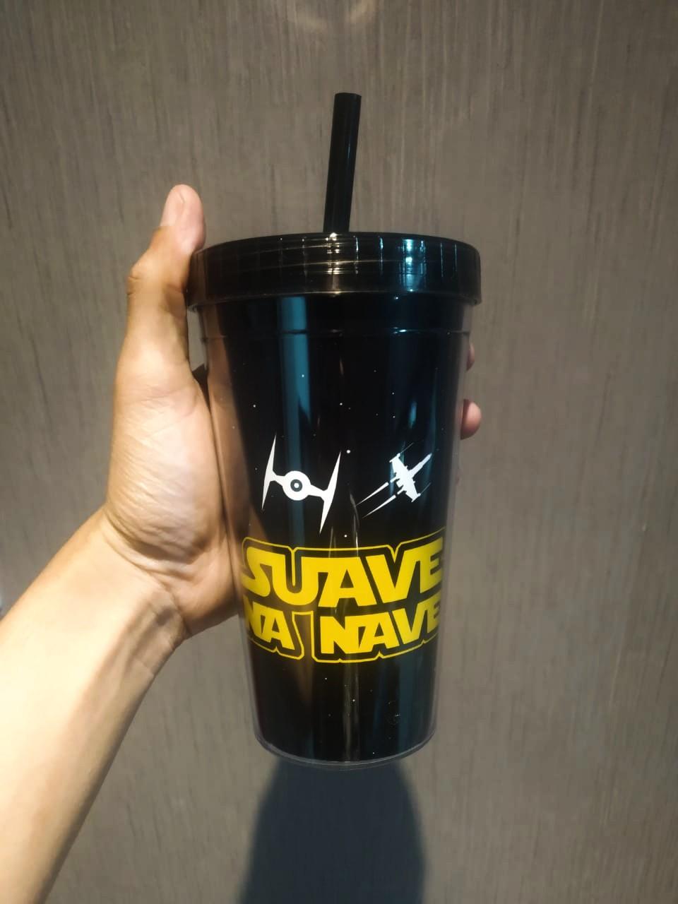 Copo Com Canudo: ''Suave Na Nave'' (Star Wars) - 450ml