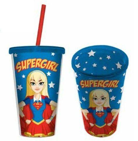 Copo com Canudo Supergirl: DC SuperHero Girls - 500ML