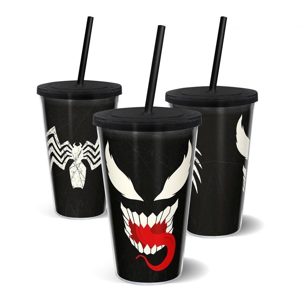 Copo com Canudo Venom: Marvel - EV