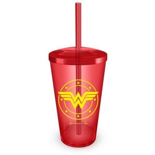 Copo com Canudo Wonder Woman Logo - BandUP!